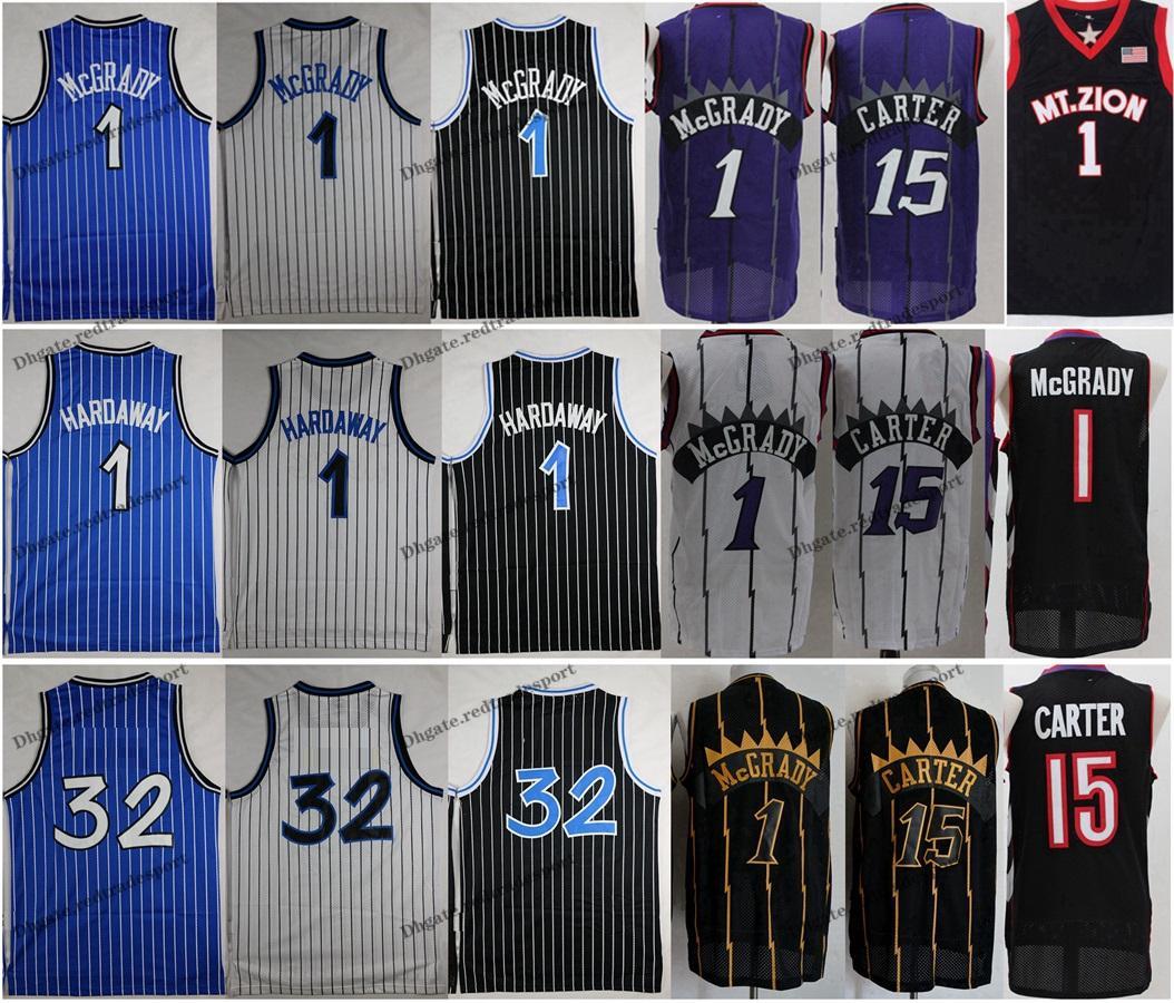 NCAA خمر 1996 كرة السلة جيرسي بيني هاداواي 1 T-Mac تريسي ماكجرادي فينس كارتر 15 الفانيلة قميص أزرق أسود مخيط