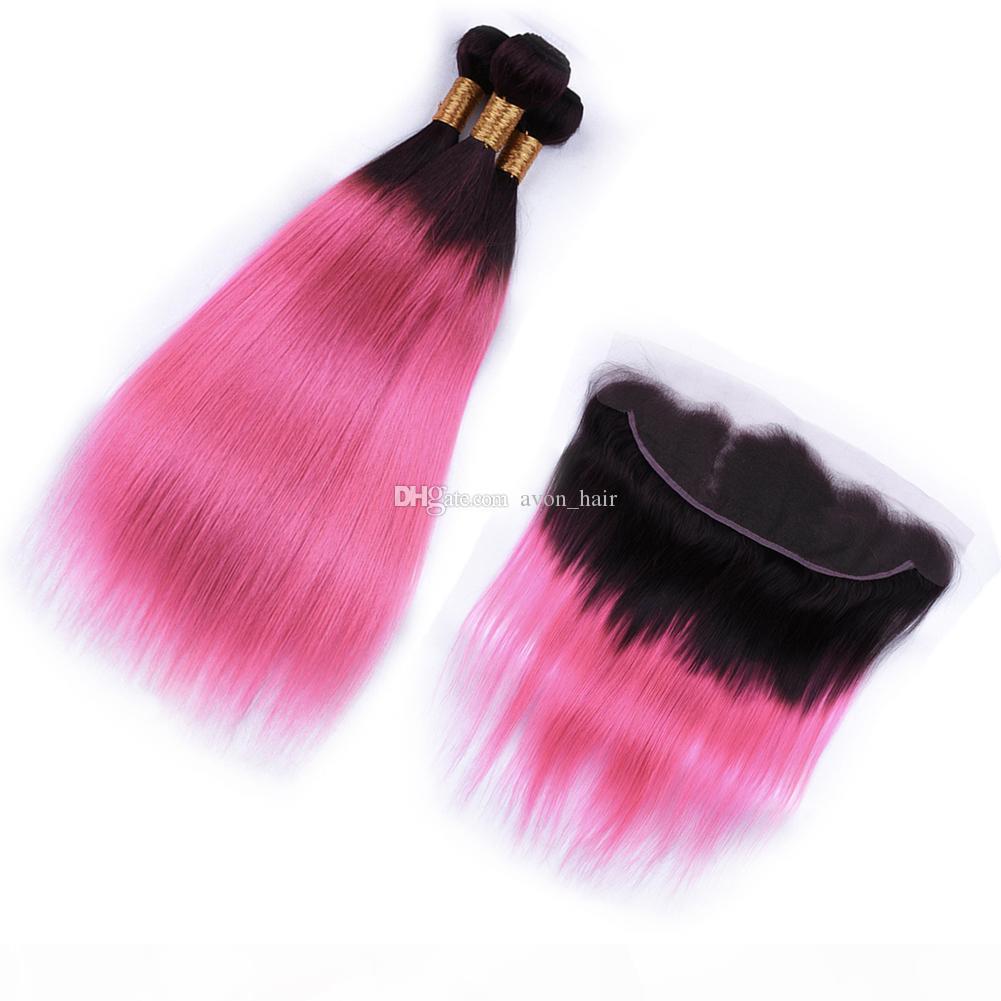 어두운 뿌리 1B 핑크 머리카락 3BLUNDLES 정면 13x4 OMBRE 컬러 핑크색 부드러운 스트레이트 헤어 익스텐션과 정면 4pcs 로트