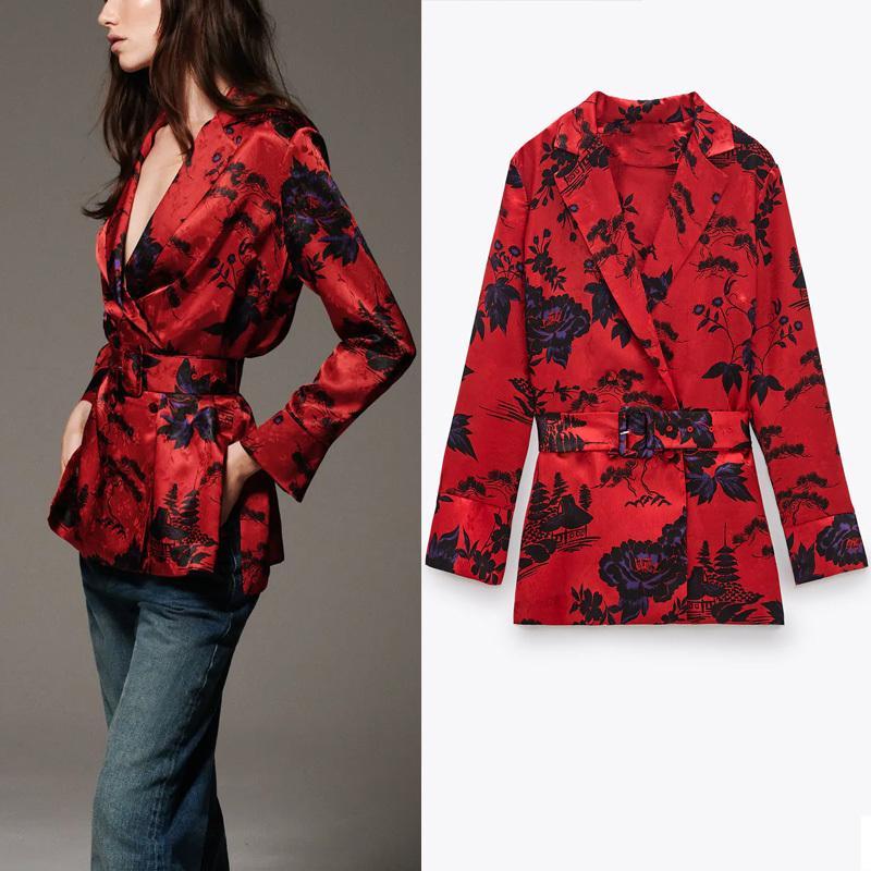 Za mulheres retro cinto impressão blusa outono manga longa envoltório floral escritório camisa feminina moda frente botão flor top 210225