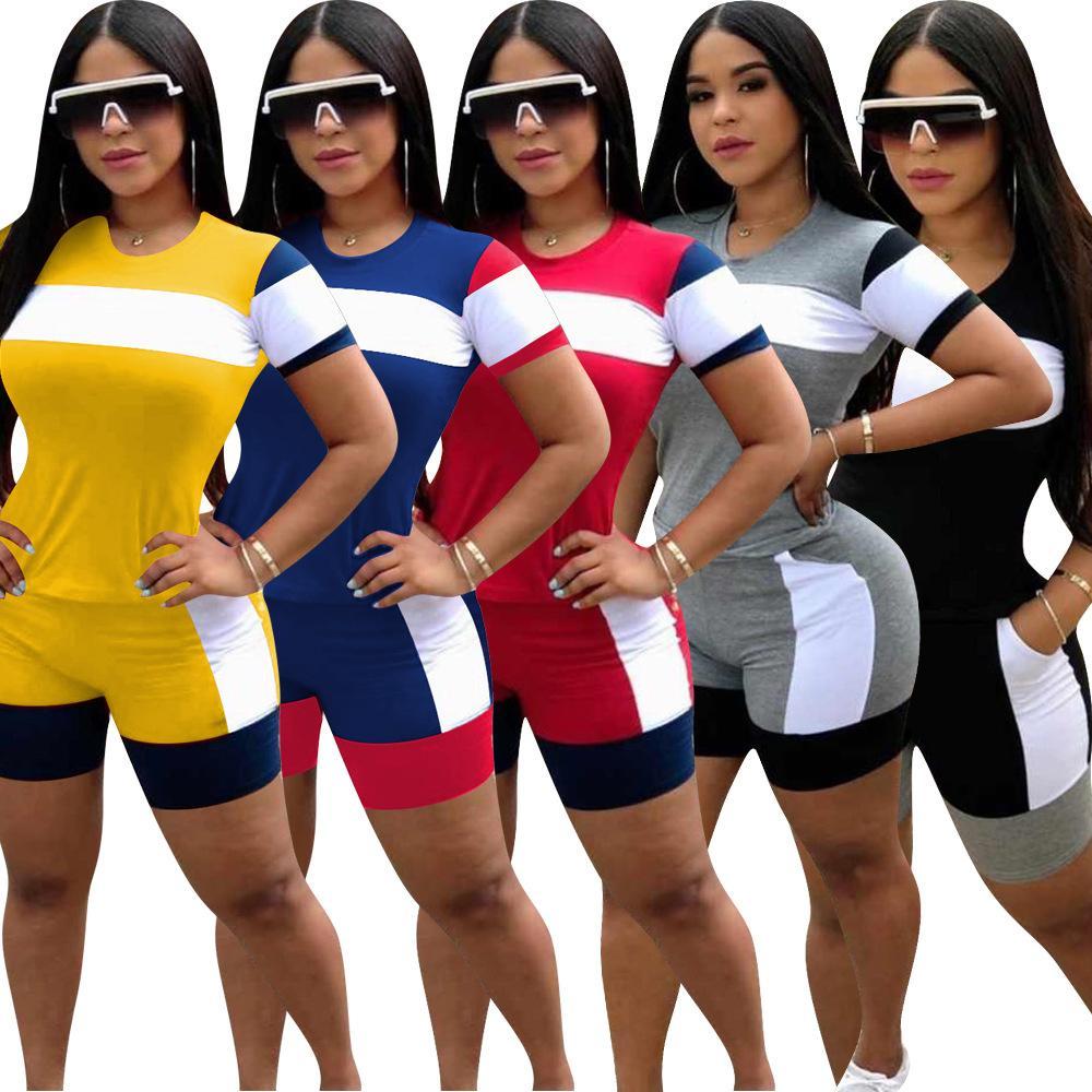 Frau Kurzarm 2 Stück Set Trainingsanzug Mode Beiläufige Nähte Zwei Teile Outfits Damen Sportswear Sommer Kleidung S-3XL