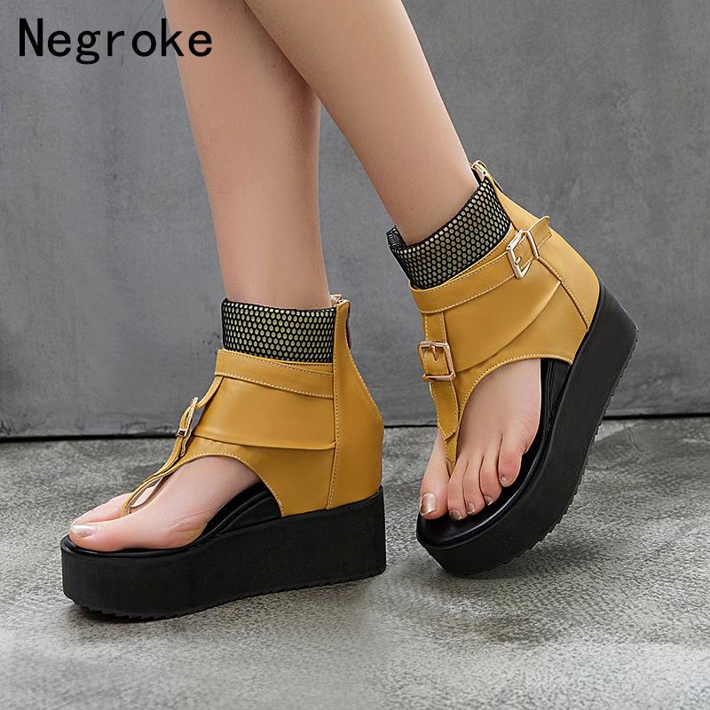 Бренд мода женщин платформы сандалии летние клинья обувь женщина высокие кожаные гладиаторы сандалии сандалии сандалии Sandalias Mujer 210302