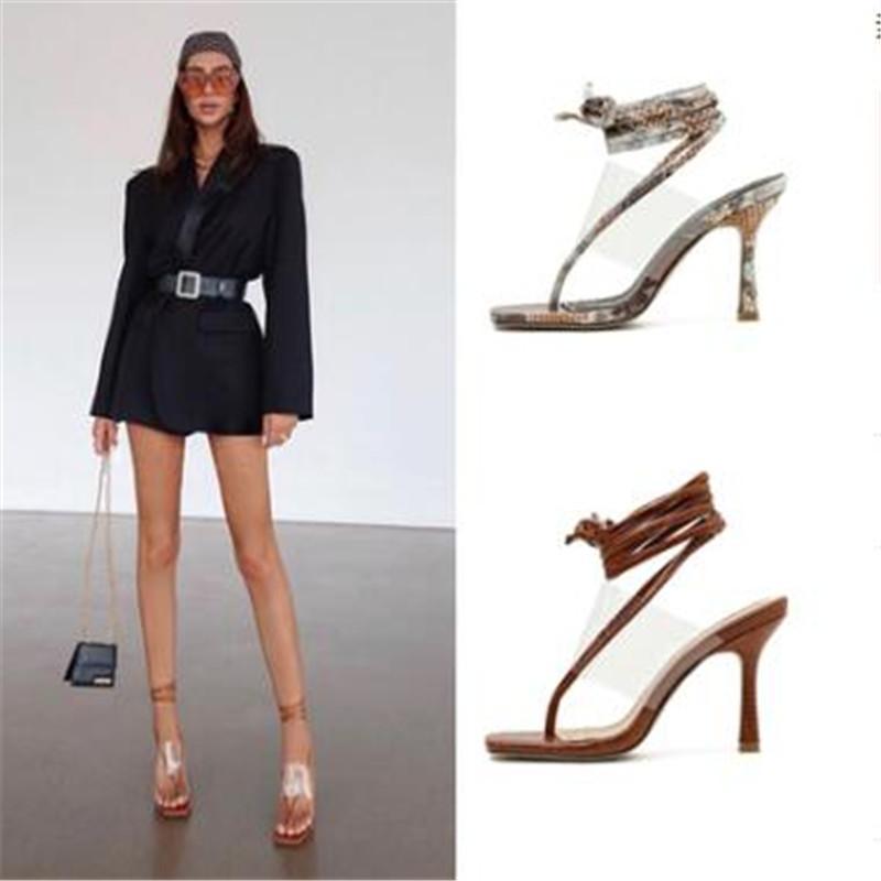 Kadın Yaz Rahat Seksi Ayak Strappy Ayak Bileği Kayışı Yüksek Topuklu Sandalet Ayakkabı 210302