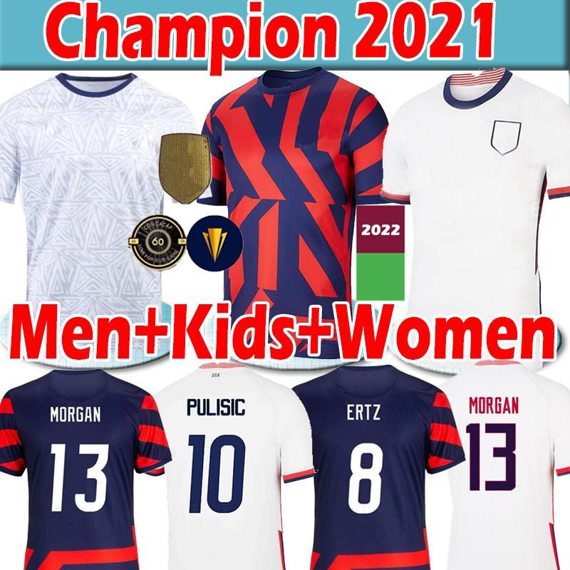 "4 Sterne 21/22 Pulsic Reyna Champion 2021 USA ""Fussball Jerseys Männer Frauen Kinder Dest McKennie Lloyd Morgan America Football United States Shirt Training"
