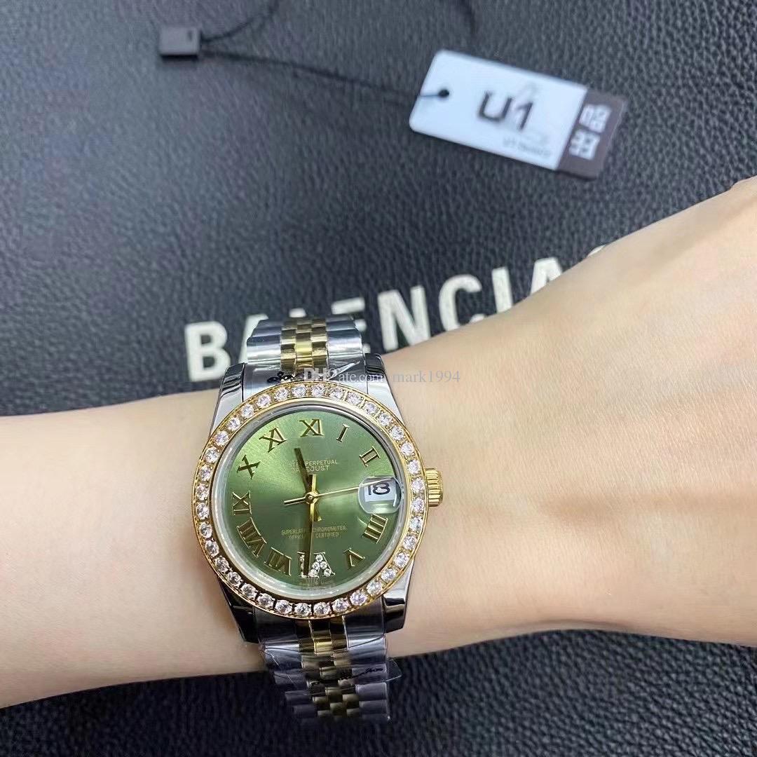 U1 Style Factory 31mm Femmes Regardez le mouvement automatique Verre Saphir Date Big Taille Montre-bracelet