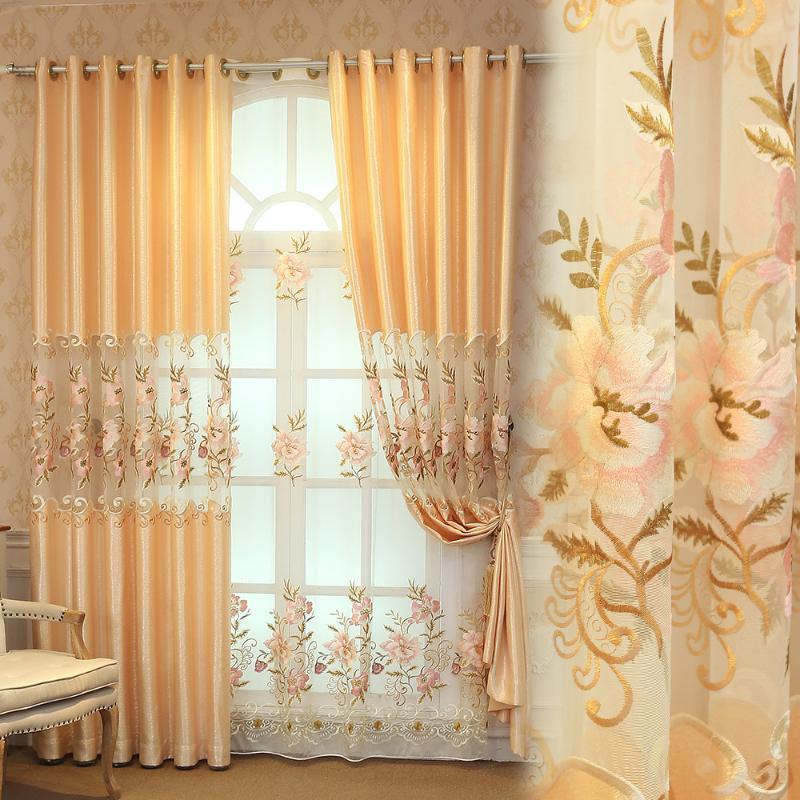 Vorhang drapiert den europäischen Stil Vorhänge zum Wohn-Esszimmer-Schlafzimmer Halbschattierung Fertigprodukt Anpassung