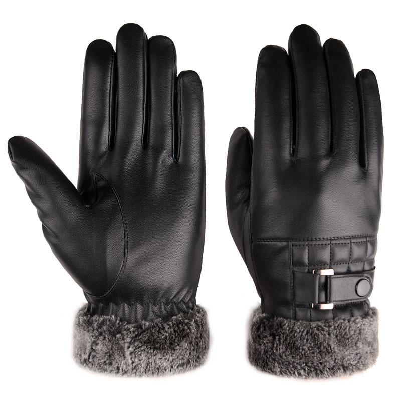 رجل أفضل تصميم هدية عيد السمك أسود قفازات جلدية دافئة جلدية تجارية بين قفازات تعمل باللمس