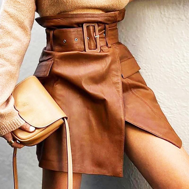 PU Irregular Split Couro Mulher Saia Cintura Cintura Castanho Fêmea Fêmea Streetwear Sólido 2021 Nova Primavera All-Match Senhoras Bottom 210305