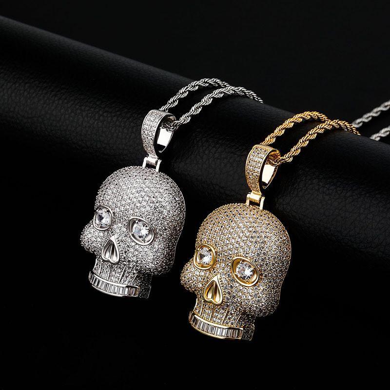 18 K Altın Kaplama Sukll Kolye Kolye Altın Gümüş Kaplama Mikro Kaplamalı Zirkon Erkek Hip Hop Takı Hediye