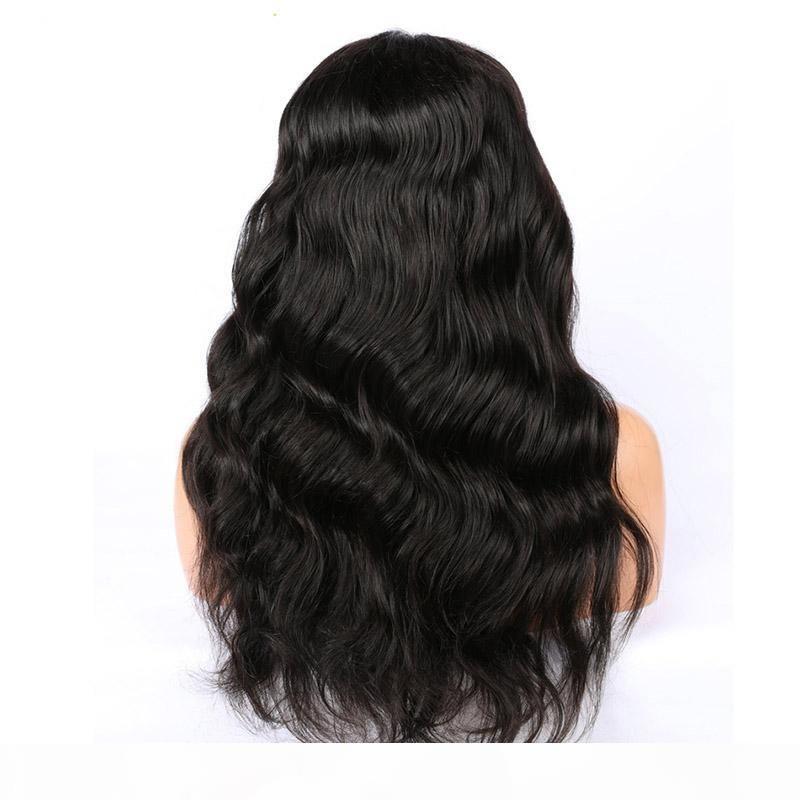 Malaysian الجسم موجة 360 كامل الرباط الباروكات قبل التقطت مع شعر الطفل ريمي الشعر الإنسان الباروكات اللون الأسود الطبيعي للنساء البيضاء الباروكات