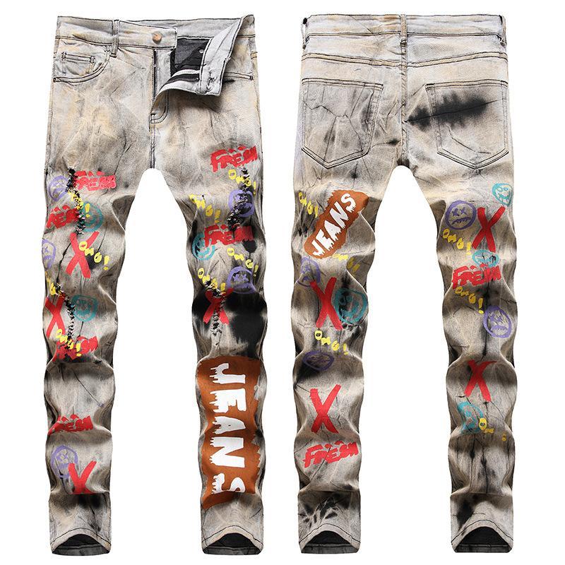 Hommes en détresse déchiré Skinny Jeans Mode Hommes Jeans Mince Moto Moto Moker Causal Hommes Pantalon de Denim Pantalons 3D Imprimé Stretch Jeans