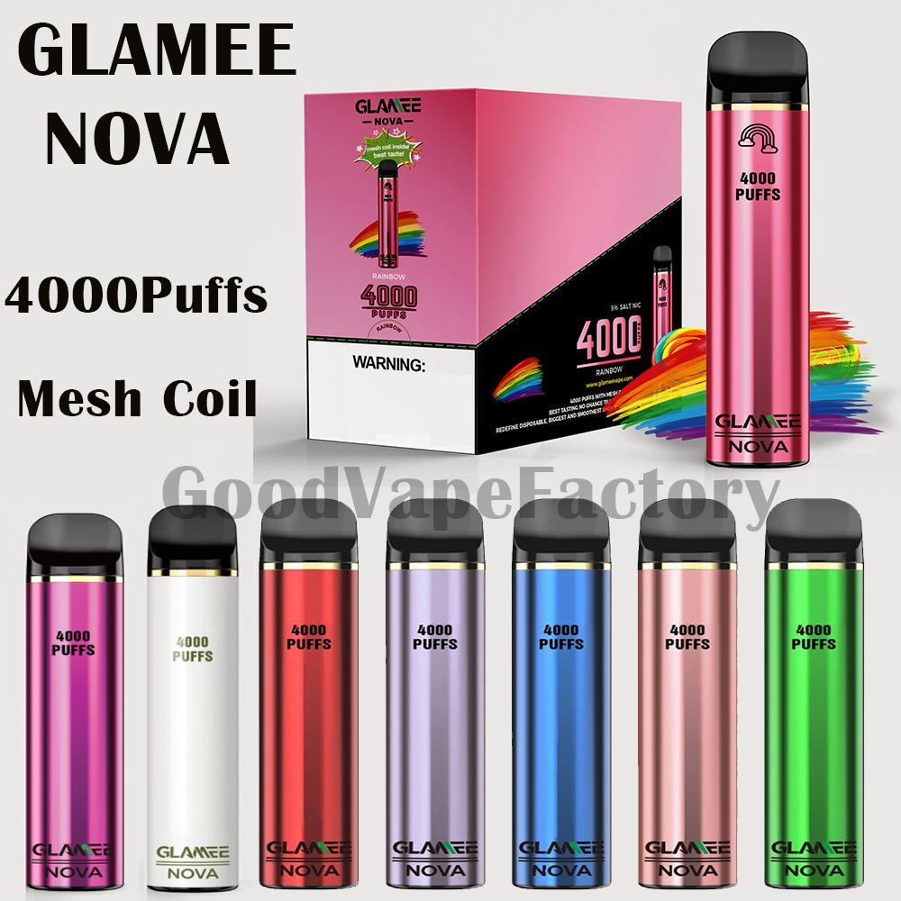 Authentique Glamee Nova Pod jetable 4000buffs Bobine de maille Vape Pen Dispositif 12ml 2200mAh Barre de vapeur de vapeur 20 couleurs