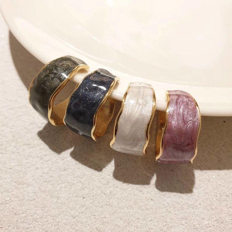 Новая мода широко открытыми кольцами женский эмаль застекленной индекс индекс пальцев капающий масло насилка нерегулярное кольцо для женщин девушки украшения