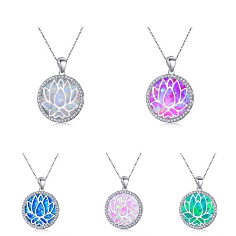 5 Colors Stainless Steel Hollow Lotus Pendant Necklace Ladies Women Chain Necklace Chic Fahion Jewelry