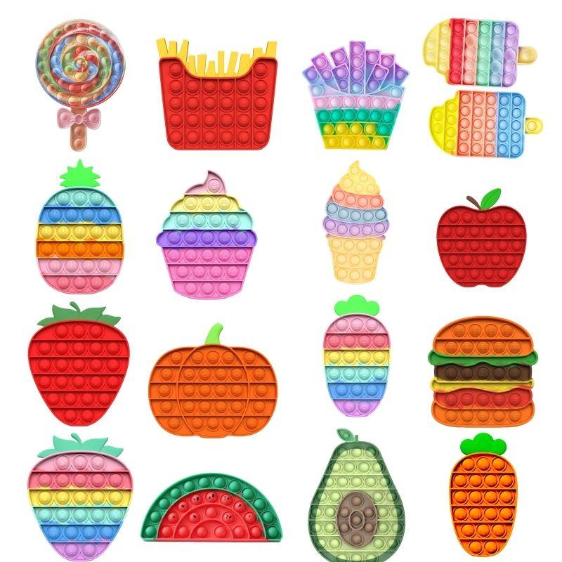 Colorful Rainbow Fruits Tema Partito Push Bubble Fidget Giocattoli Bambini Adulti Emotion Sfort Reliever Giocattoli