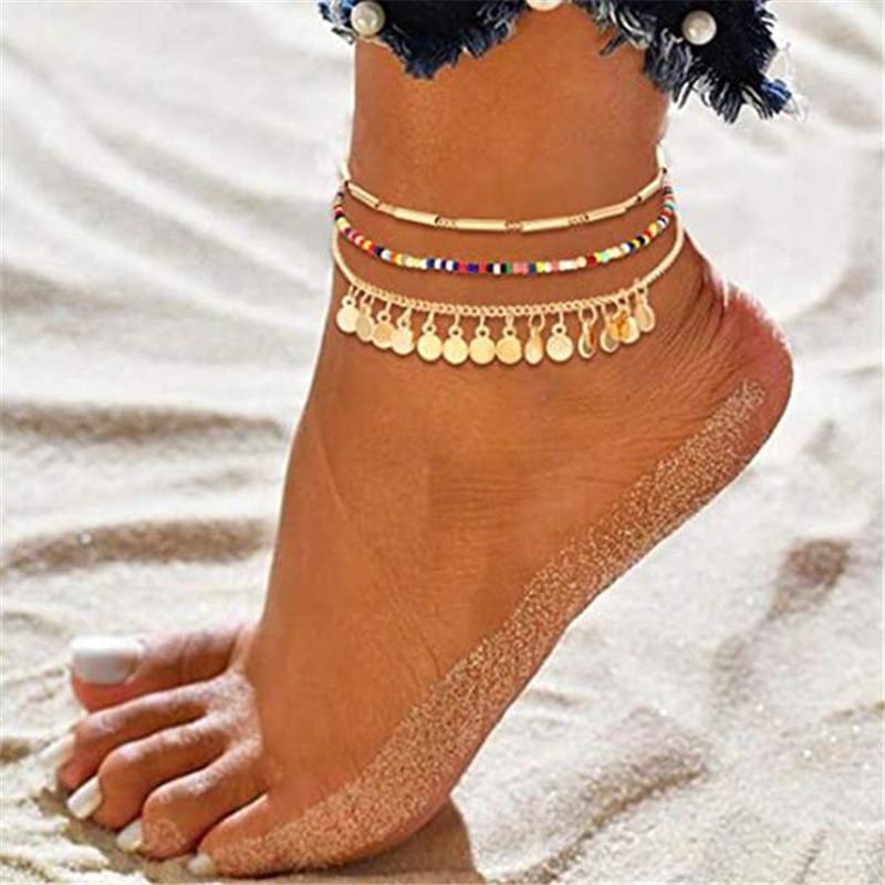 Moda Plaj Halhal Altın Renk Payetli Ayak Takı Renkli Boncuk Kadın Için Çok Katmanlı Halhal