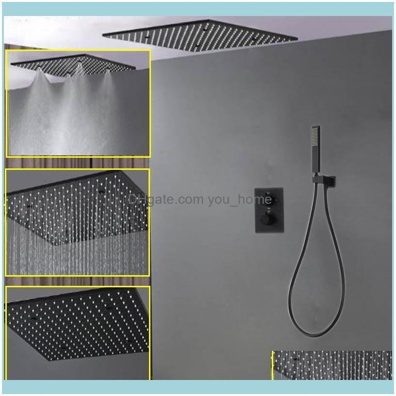 """Sets Faucets, As Home & Gardenshower Panel Mist Shower Head Black Led 20"""" Showerhead Set Concealed Mixer With Thermostat Square Rain Bathroo"""