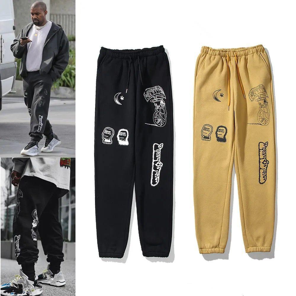 العلامة التجارية الأوروبية والأمريكية Kanye نفس التعادل صبغ أرجل الرياضة أزياء الرجال المرأة الجديدة عارضة السراويل فضفاضة أنبوب مستقيم