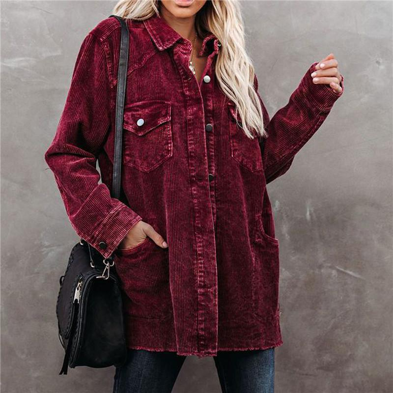 여성용 자켓 히리 지 린 봄 가을 느슨한 코듀로이 자켓, 2021 패션 빈티지 긴 소매 단추 고민 된 옷깃 코트