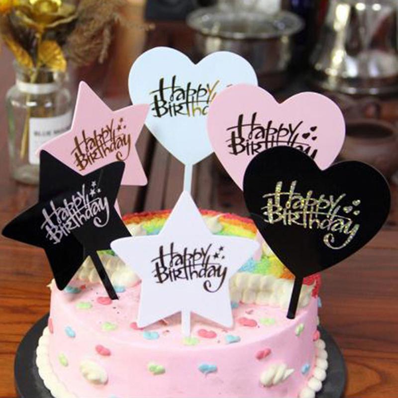 Feliz cumpleaños amor acrílico pastel topper postre hornear fiesta decoración 1 x feliz cumpleaños pastel topper