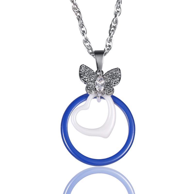 Простой дизайн темно-синий круглый керамический кулон ожерелье двойные слои сердца / круглые керамические ожерелье мода женские украшения