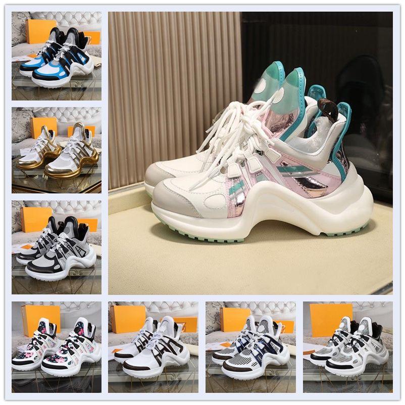 2021 Louis Vuitton 21 new LV ARCHLIGHT shoes Yeni erkek ve kadın Ayakkabıları Archlight Güzel kalın tabanlı rahat sneakers tasarımcılar kemer ayakkabı deri renk elbise  ayakkabı