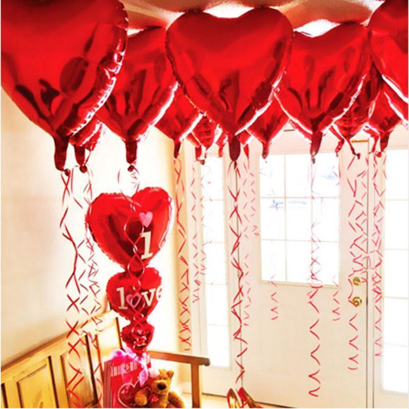 Decorações de festa 18 polegadas coração em forma de alumínio folha de balão dia dos namorados amor presente casamento decoração decoração balões festival su