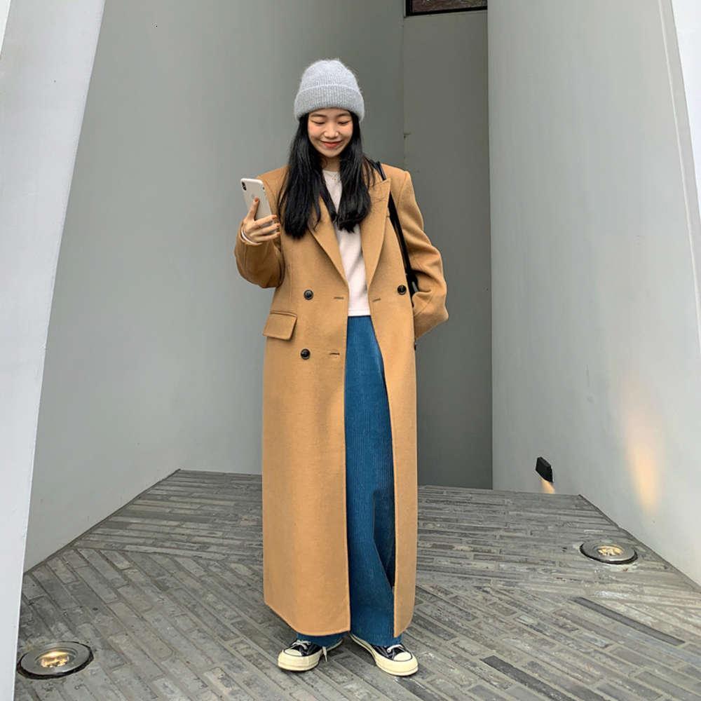 Camel Wool Women's 2020 automne hiver nouveau tempérament épaissi de style hepburn style longueur genouillère