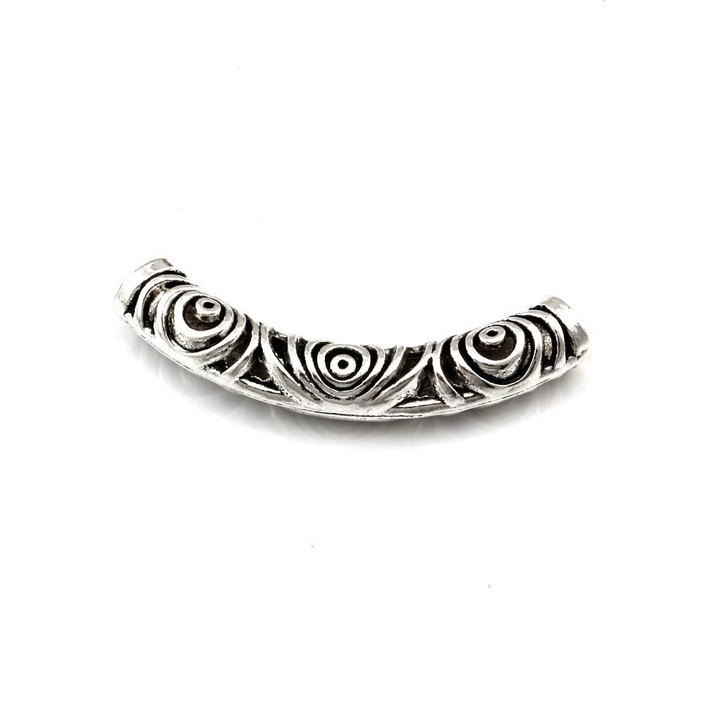 20 unids / lotes Aleación de zinc Antiqued Silver Hollow Tube Curved Spacer Beads para la joyería que hace collar Accesorios de bricolaje