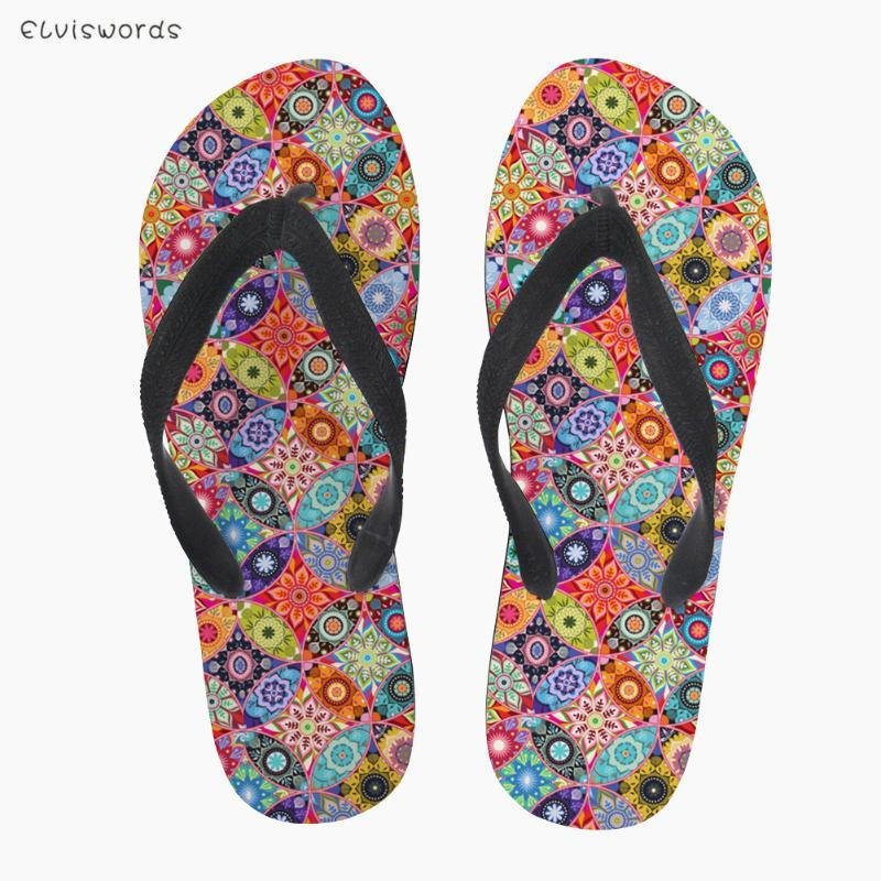 Slippers Elviswords Fashion Style Style Women Flip Flip Flaks Pretty Mandala Impresión No resbalón Casual Beach para damas Inicio