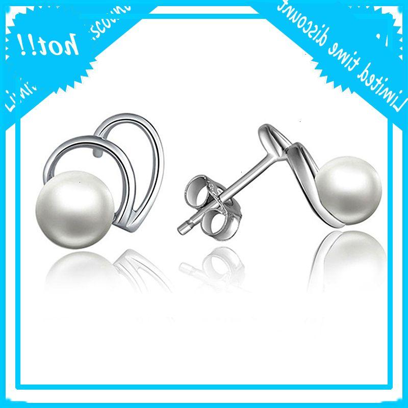 Sinya Sterling Silver 925 Perle Bijoux Etude Boucle d'oreille Femmes Conception cardiaque pour l'arrivée des amoureux Cadeau Nouvel An Noël