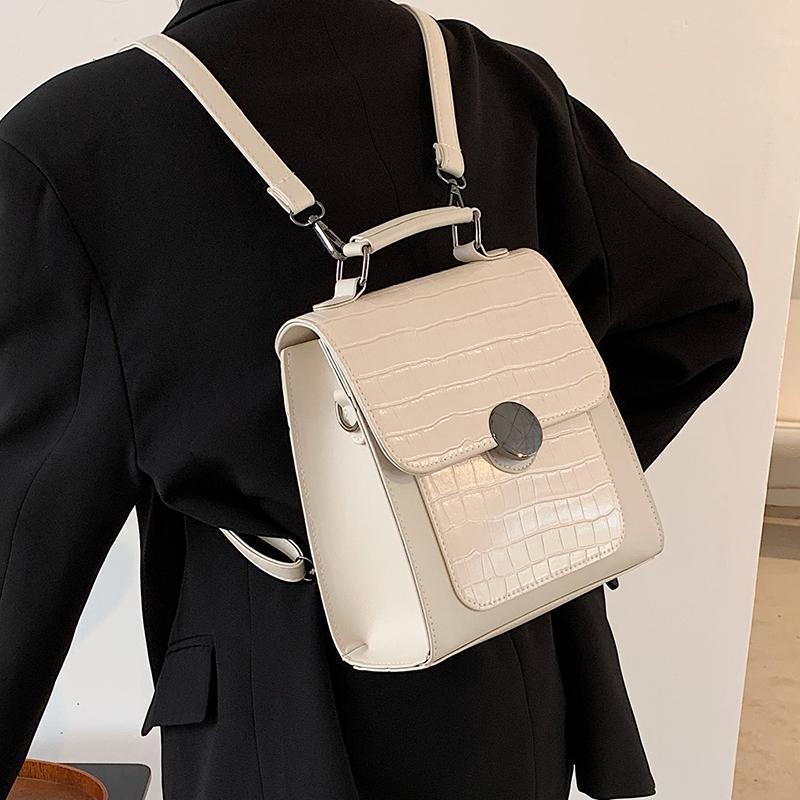 Diseño de nicho caliente Retro 2021 otoño / invierno nueva moda mochila multiusos universitarios colegios bolsa de escuela Bolsa cuadrada Ancho: 21 cm
