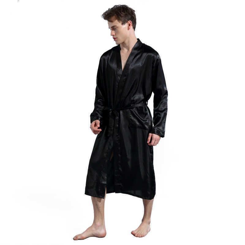 Hommes Soie Satin Robes Satin Pyjamas Manches longues Solide Sleepwear Kimono Peigneur de peignoir Mâle Loisirs Hommes Loungewear Robe de chambre 210728