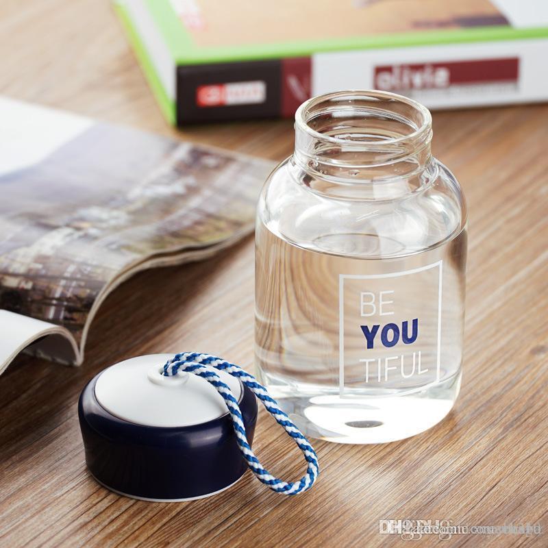 11 унции стеклянные бутылки с водой Высокотемпературное стекло бутылка для стекла мода спортивная бутылка водяной бутылки портативный сдача вручную чашку для воды Запрещено DBC DH1378