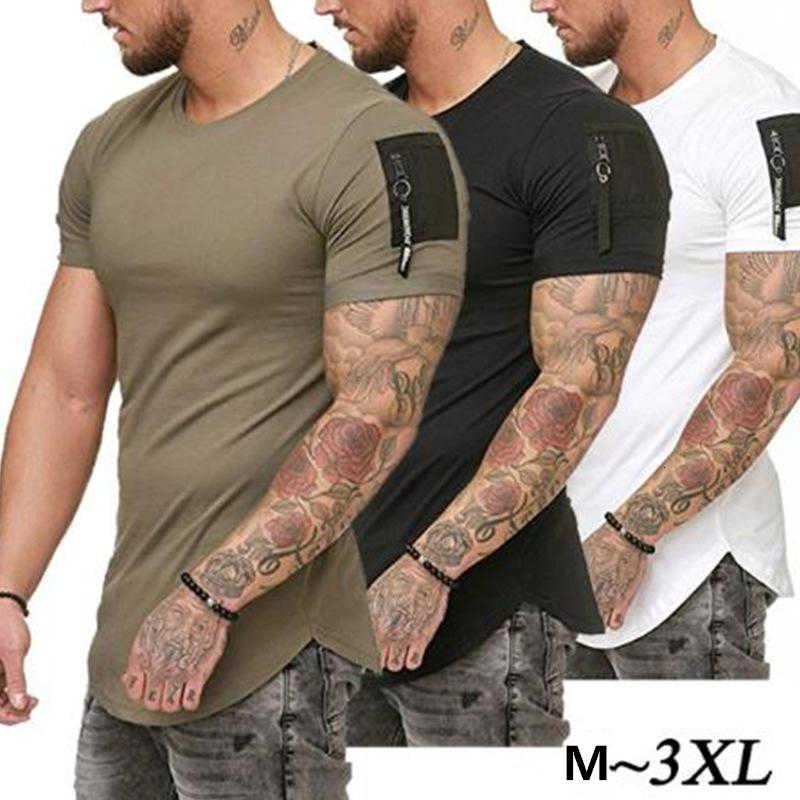 2020 Yeni Yaz Rahat T Gömlek Erkekler Moda Fermuar Kollu O Boyun Hip Hop T-Shirt Tops Pamuk Tişörtleri Erkek Tee Boyutu M-3XL