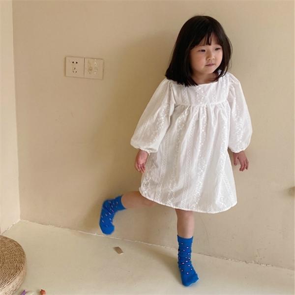2021 primavera nueva llegada chicas manga larga princesa vestido niños diseño coreano vestidos vestido de algodón C0228