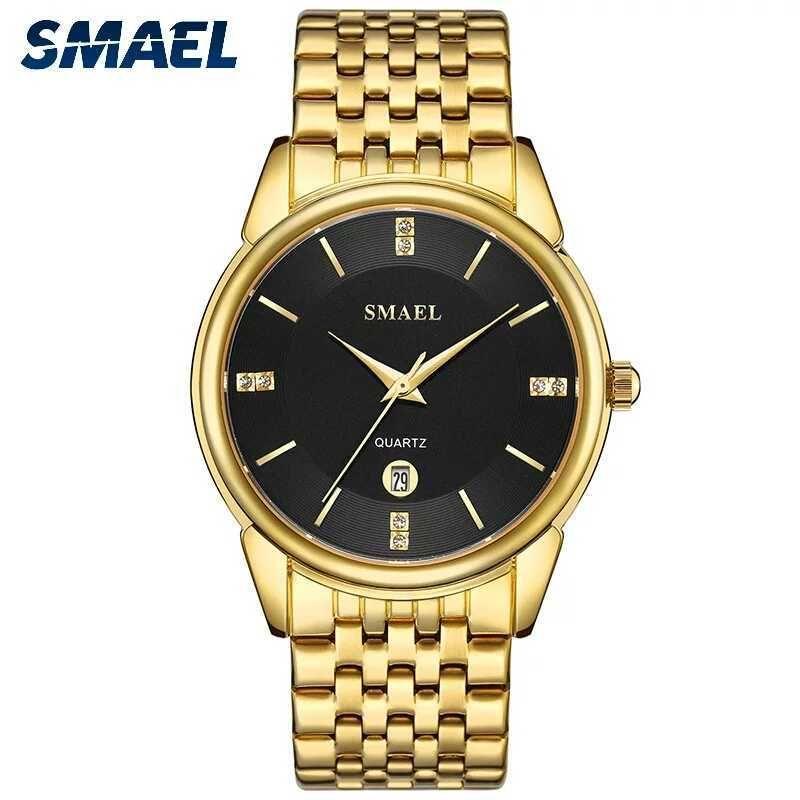 Smael Men Relógios de Ouro Tom de Aço Inoxidável Band Relógio de Quartzo Dial Preto Data Exibir Moda Impermeável Relógios de Pulso 9026 Y0708