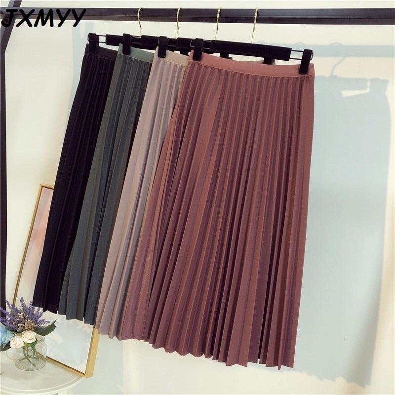 JXMYY Spring Automne Mode Haute Taille Femmes Plissé Couleur Solide Demi-Longueur Jupe élastique Promotions Lady Black Rose 210315