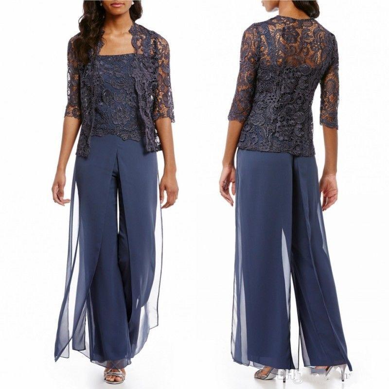 Chic Dark Navy Mother Of The Bride Pant Suits With Jacket Cheap Lace Chiffon Country Beach Wedding Guest Dresses Formal Evening Party Wear