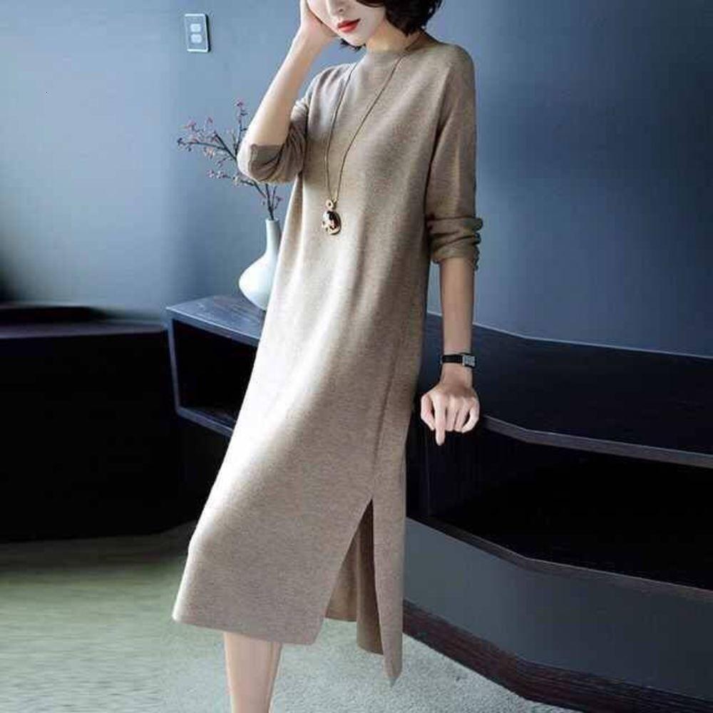 Трикотажная свободная тонкая раскол средней и длинной донной рубашкой темперамент мода шерстяное платье повседневная женская одежда