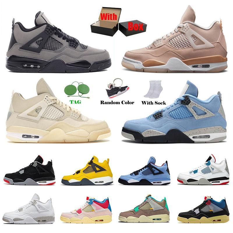 مع مربع Nike Air Jordan Retro 4 OFF White Sail إمرأة رجل  أحذية كرة السلة Jordans 4s Jumpman AJ University Blue Travis Scott Manila What The IV احذية رياضية رياضية