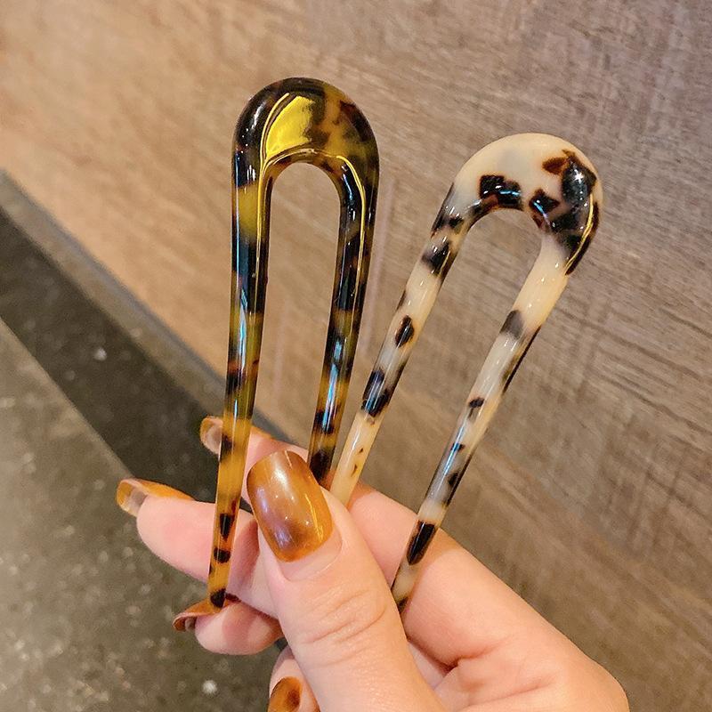 Haarschmuck fein koreanisch trendy leopard drucken geometrische u-förmige gabel harz haarnadeln für frauen mädchen vintage acetat haarnadel