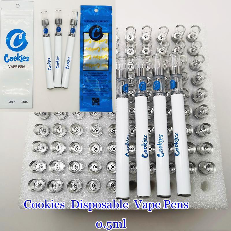 일회용 쿠키 vape 카트리지 vape 펜 기화기 키트 350mAh 배터리 0.5 ml 빈 세라믹 코일 두꺼운 오일 카트리지 포장 가방