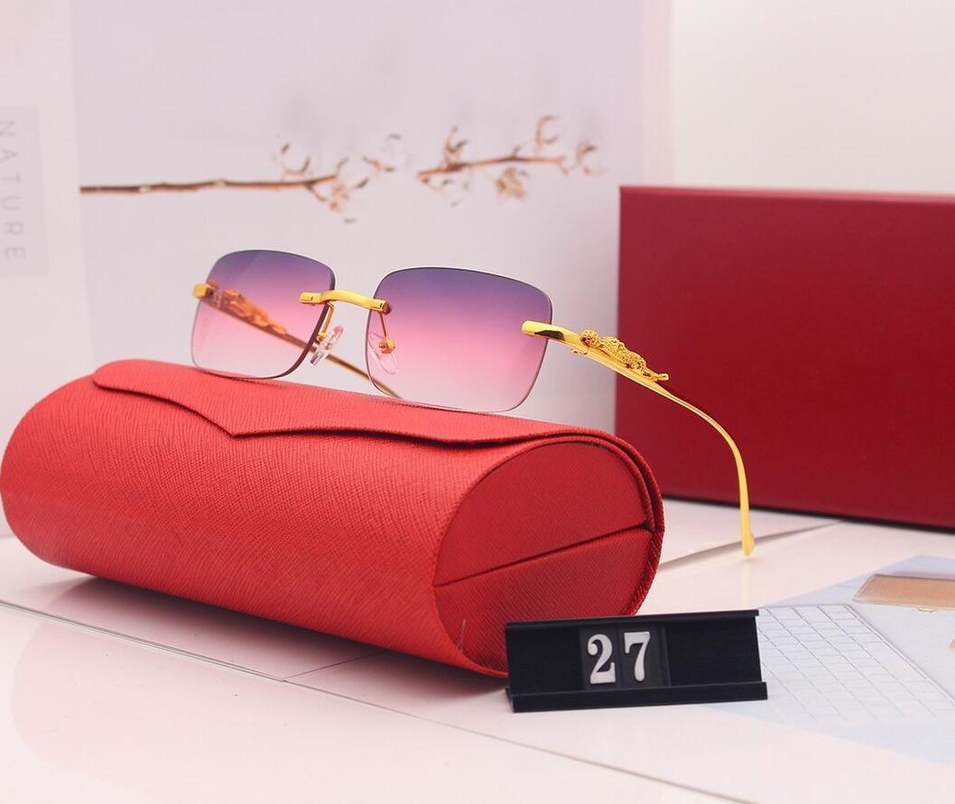 En Kaliteli Güneş Gözlüğü Moda Gözlüğü Adam Kadınlar Çerçevesiz Güneş Gözlüğü Modeli 27 Yaz Güneş Gözlüğü UV400 5 Renkler Hediye Kutusu Yrkrk