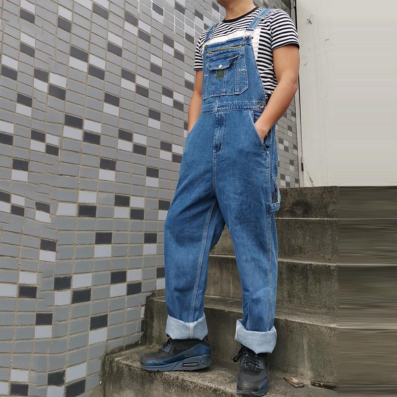 Erkekler Denim Kot Erkek Tulum Tulum Büyük Boy Kayış Düz Pantolon Mavi Daha Fazla Boyutları 30-4z1y