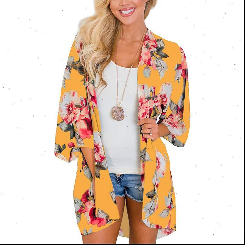 Bayan Gömlek Kadınlar Şifon Kimono Hırka Çiçek Baskılı Uzun Kollu Bluz Yaz Sonbahar Plaj Kapak Up Üstleri Boho Gevşek Bayanlar