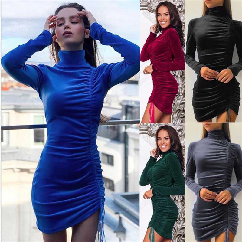 Süet İpli Yüksek Yaka Uzun Kollu Rahat Gömlek Elbiseler Kadın Elbise kadın Giyim Mini Baz Sıkı Ince Bodycon