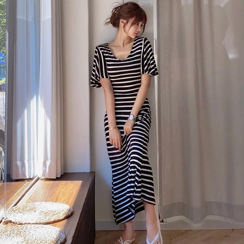 2021 Yeni Kadın Rahat Çizgili Kısa Kollu Plaj Bohemian Maxi T Gömlek Streetwear Yaz IDHD