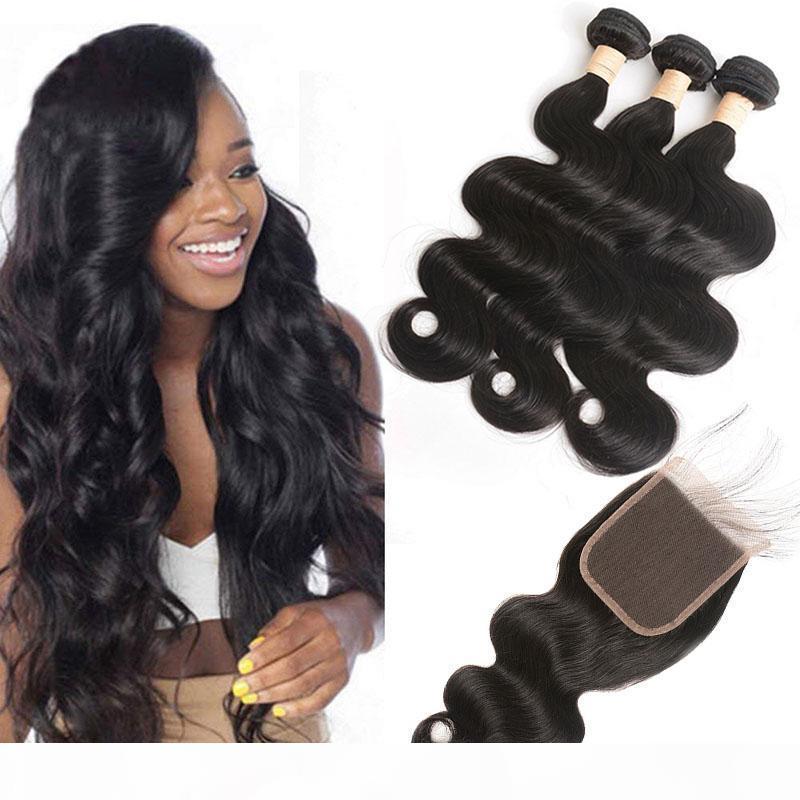 Малайзийские человеческие волосы 5x5 кружевной закрытие с младенцем волос 3 пакета с 5 * 5 закрытие натуральный цвет кузовной волна средней три свободной части