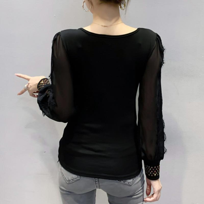 2021 Новый весенний осень осенью корейский стиль футболки мода сексуальная O-шеи блестящие бриллианты женские хлопковые топы Ropa Mujer с длинным рукавом кружева T00504A K9Y4