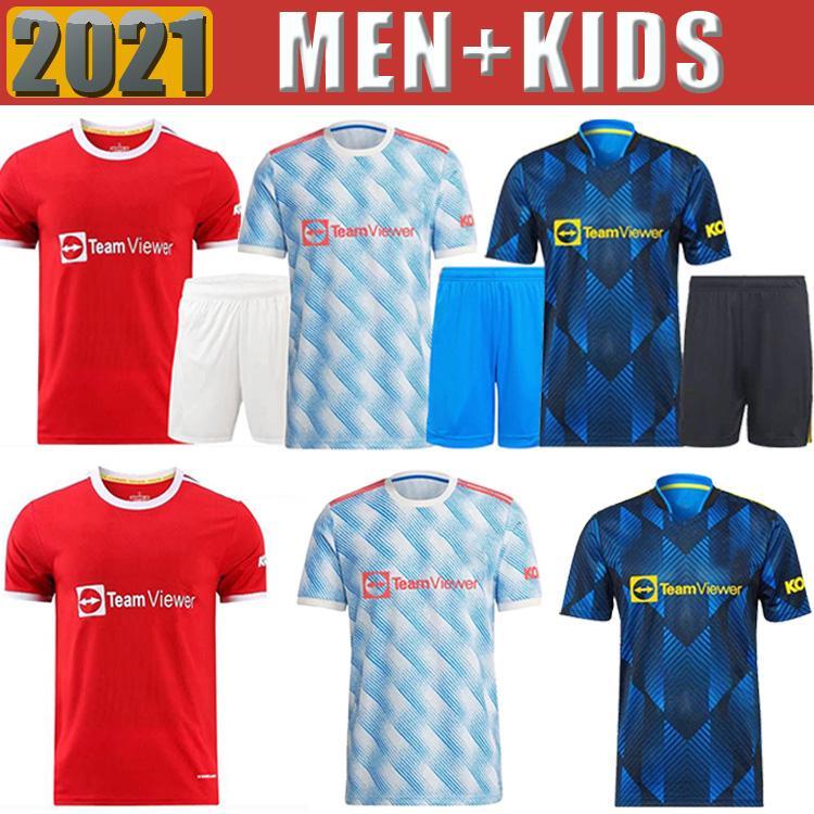 21 22 Sancho Manchester Soccer Jersey Fãs Unidos Versão Homem Bruno Fernandes Lingard Pogba Rashford Camisa de Futebol Utd 2021 2022 Men + Kit Kits uniforme